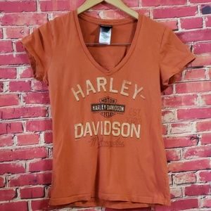 Harley Davidson orange Ladies shirt size S